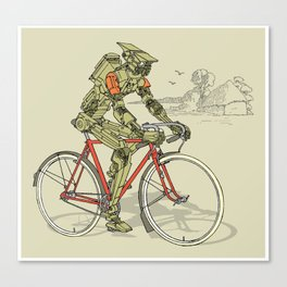 Robot Cyclist Canvas Print