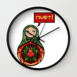 Russian Doll NYET! Wall Clock