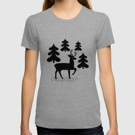 Deer In The Forest Blue Pattern T-shirt