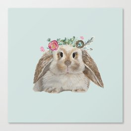Spring Bunny with Floral Crown Canvas Print