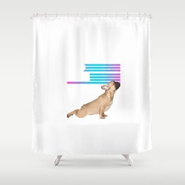Frenchies and Yoga Shower Curtain