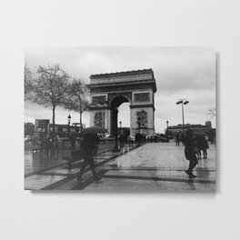 Rainy Afternoon on the Champs-Elysees Metal Print