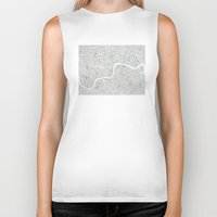 london map Biker Tanks featuring City Map London watercolor map  by Anne E. McGraw