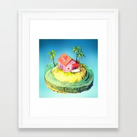dragonball z Framed Art Prints featuring Kame House - DragonBall Z by Neil Stratford
