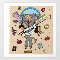 leslie knope Art Prints featuring Leslie Knope Pin-Up by Emma Munger