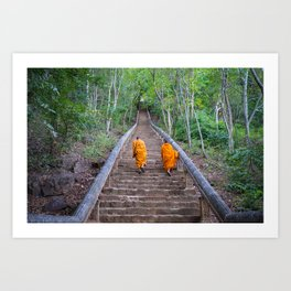 Buddhist monks walking the stairs in Cambodia | Travel photography Asia Art Print