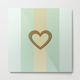 Big Gold Heart Pastel Green Yellow Romantic Love Metal Print