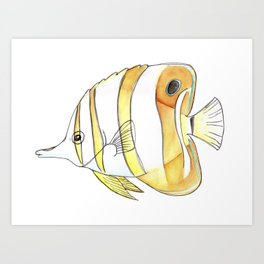 Copperband Butterfly Fish in Watercolor Art Print