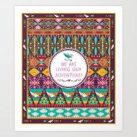 Seamless bright pattern in tribal style Art Print