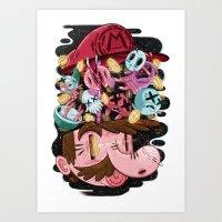 super mario Art Prints featuring Super Mario by James Burlinson