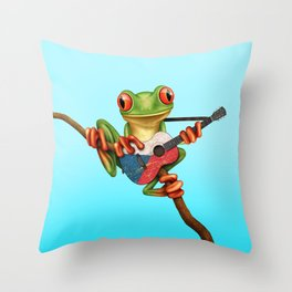 Tree Frog Playing Acoustic Guitar with Flag of Czech Republic Throw Pillow