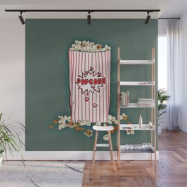 THERE'S ALWAYS TIME FOR POP CORN! - GREEN Wall Mural