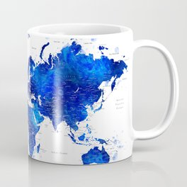 """Navy blue and cobalt blue watercolor world map with cities labelled, """"Carlynn"""" Coffee Mug"""