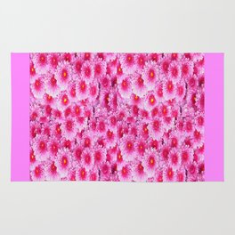 Fuchsia Pink Mums Garden Floral Pattern Rug