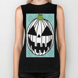 White Pumpkin Jack O Lantern  Biker Tank