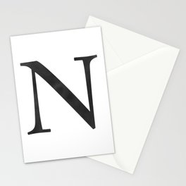 Letter N Initial Monogram Black and White Stationery Cards