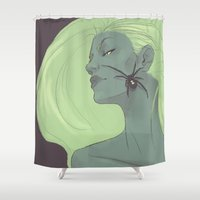 black widow Shower Curtains featuring BLACK WIDOW by FISHNONES