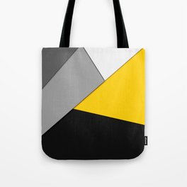 Simple Modern Gray Yellow and Black Geometric Tote Bag