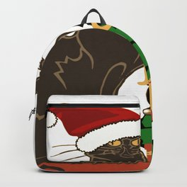 Joyeux Noel Le Chat Noir With Tree And Gifts Backpack