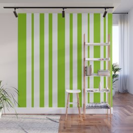 Lime Green and White Stripes Minimalist Color Block Pattern Wall Mural