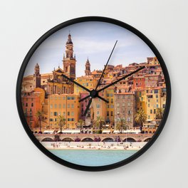 Old village of Menton French Riviera in summer Wall Clock