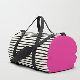 Bright Rose Pink x Stripes Duffle Bag