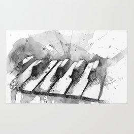 Watercolor Piano (Grayscale) Rug