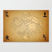 the last airbender Canvas Prints featuring Avatar Last Airbender Map by KewlZidane