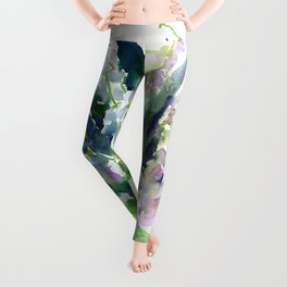 Lilies of the Valley, spring floral design flowers sring design wood flowers Leggings