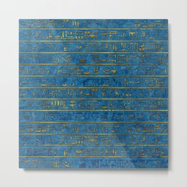 Golden Embossed Egyptian hieroglyphs on blue Metal Print