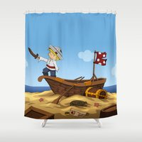 pirate ship Shower Curtains featuring Pirate by TubaTOPAL