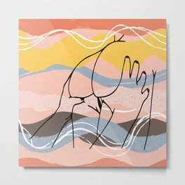 The Waves Of Sex, Erotic Lovers Art, Minimalist Sex Illustration, Modern Sex Pose Line Drawing Metal Print