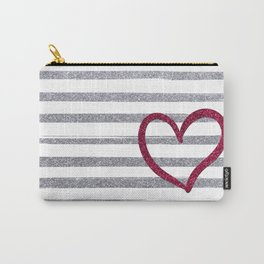 Red Heart on Shiny Silver Stripes Carry-All Pouch