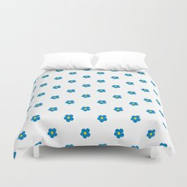 Blue and Yellow Ditsy Pattern Flowers Duvet Cover