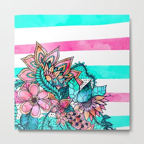 Floral watercolor modern pink teal stripes Metal Print
