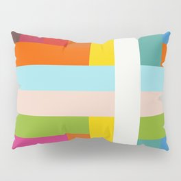 Unicorn - Abstract Colorful Stripes Grid Pillow Sham