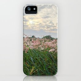 Grey Sky and flowers iPhone Case
