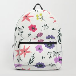Abstract coral purple violet vector floral pattern Backpack