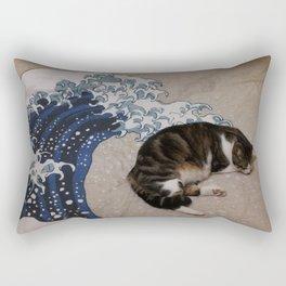 Cat and wave Rectangular Pillow