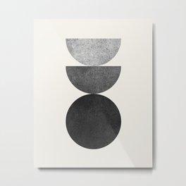 Woodblock B&W Mid century modern Metal Print