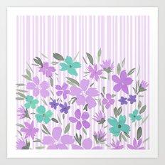 Floral Spring and Stripes Lavender Art Print