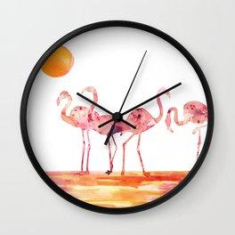 The Wading Flamingos Wall Clock