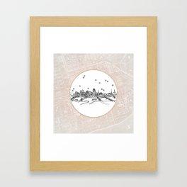 Cincinnati, Ohio City Skyline Illustration Drawing Framed Art Print