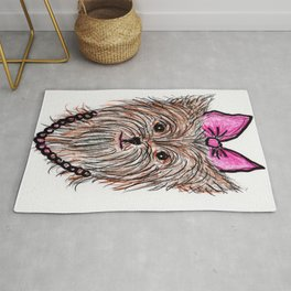 Yorkie in a Bow Rug
