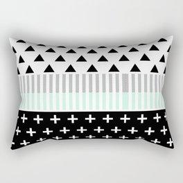 Modern Elegant Mint, Black,  & White Shapes Rectangular Pillow