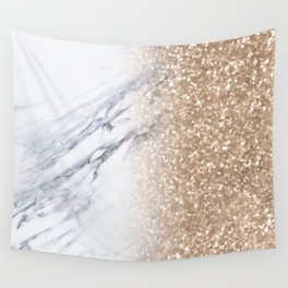 Bronze Copper Gold Glitter White Gray Marble Luxury III Wall Tapestry
