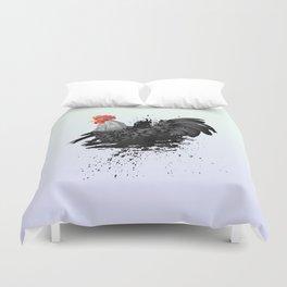 Grunge Black Rooster Duvet Cover
