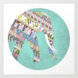 Mosaic Elephant Art Print