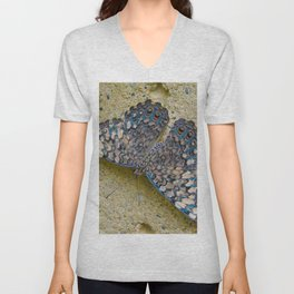 Turquoise and Sand Butterfly by Teresa Thompson Unisex V-Neck