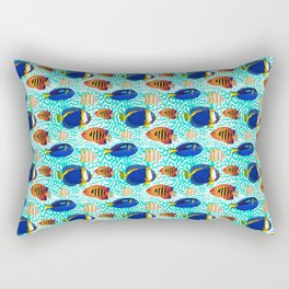 Colourful Tropical Reef Fish Pattern Rectangular Pillow
